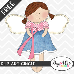 Free Breast Cancer Awareness Angel Clip Art Single