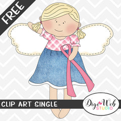Free Angel w/ Breast Cancer Awareness Ribbon Clip Art Single