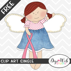 Free Angel w/ Pink Breast Cancer Awareness Ribbon Clip Art Single