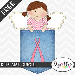 Free Breast Cancer Awareness Angel in Denim Pocket