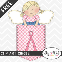 Free Breast Cancer Awareness Angel in Gingham Pocket Clip Art Single