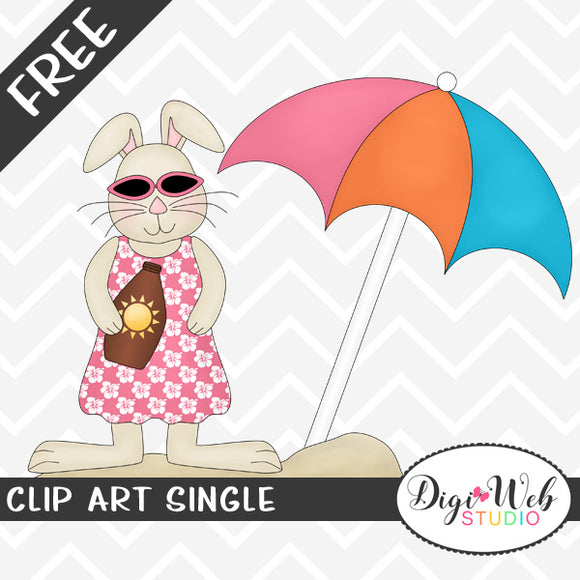 Free Summer Beach Bunny Clip Art Single