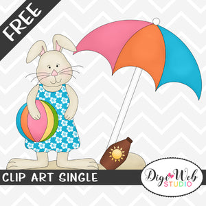 Free Beach Bunny with Beach Ball Clip Art Single
