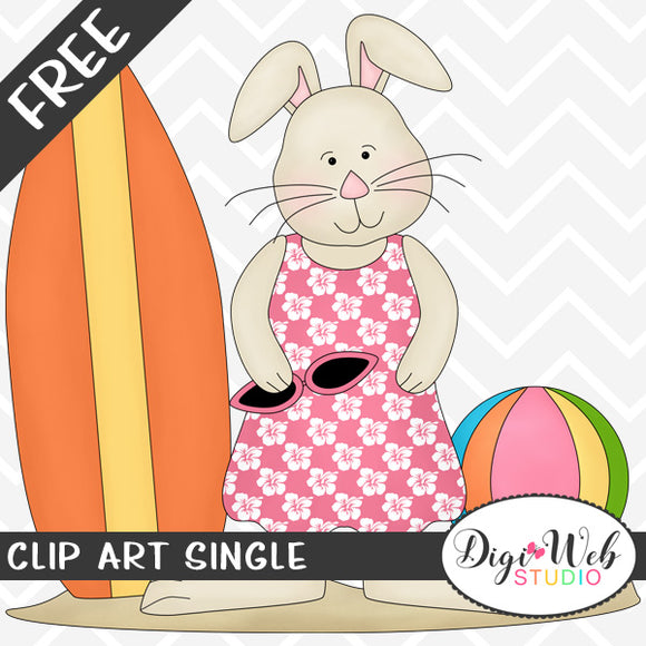 Free Beach Bunny with Surf Board Clip Art Single