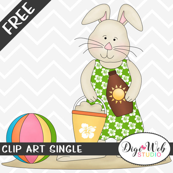 Free Beach Bunny with Bucket of Sand Clip Art Single