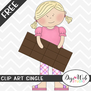 Free Girl with A Chocolate Candy Bar Clip Art Single