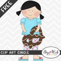Free Girl Holding A Chocolate Pretzel Clip Art Single