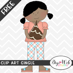 Free Girl Holding A Chocolate Candy Drop Clip Art Single