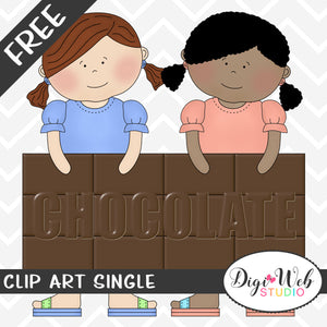 Free Friends Holding A Chocolate Candy Bar Clip Art Single