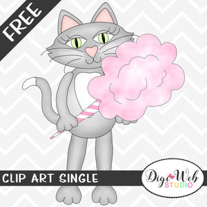 Free Cat with Pink Cotton Candy Clip Art Single