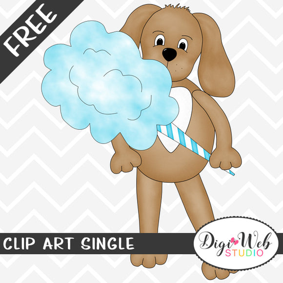 Free Dog with Blue Cotton Candy Clip Art Single