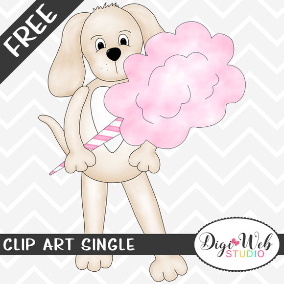 Free Dog with Pink Cotton Candy Clip Art Single
