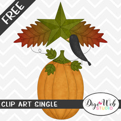 Free Fall Pumpkin with Black Crow Clip Art Single