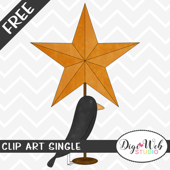 Free Fall Orange Star with Black Crow Clip Art Single