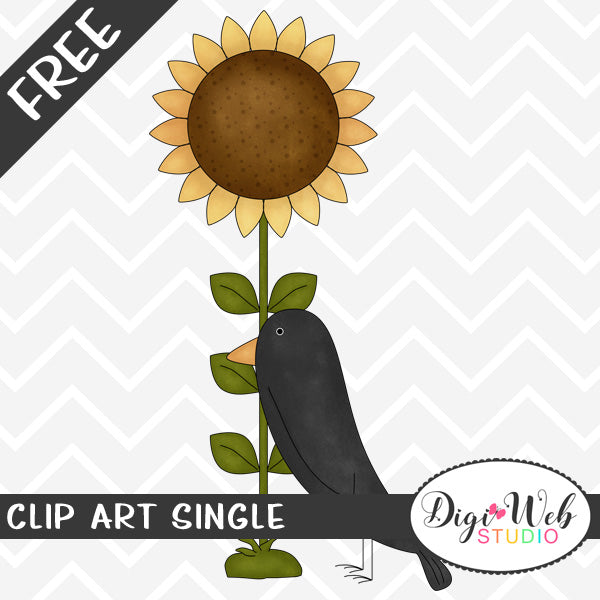 Free Black Crow With Sunflower Clip Art Single