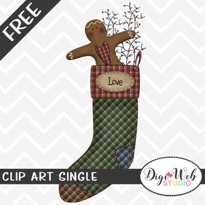 Free Love Primitive Ginger Christmas Stocking Clip Art Single