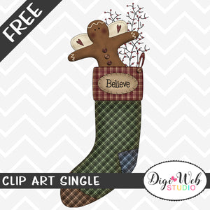 Free Believe Primitive Ginger Christmas Stocking Clip Art Single