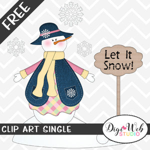 Free Snowman Girl Winter Scene Clip Art Single