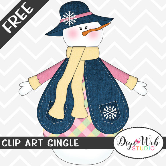 Free Snowman Girl Wearing Clothes Clip Art Single