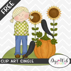 Free Fall Girl w/ Crows, Sunflowers and Pumpkin Clip Art Single