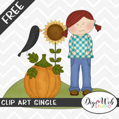 Free Fall Girl w/ Crow, Sunflower and Pumpkin Clip Art Single