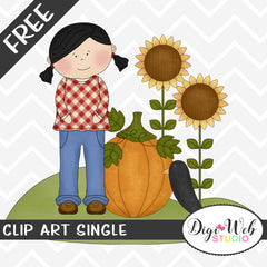 Free Fall Girl w/ Pumpkin, Sunflowers and Crow Clip Art Single