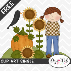 Free Fall Girl w/ Sunflowers, Pumpkin and Crow Clip Art Single