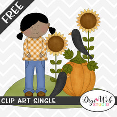 Free Fall Girl w/ Pumpkin, Sunflowers and Crows Clip Art Single