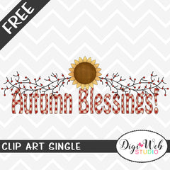 Free Autumn Blessings Word Art Clip Art Single