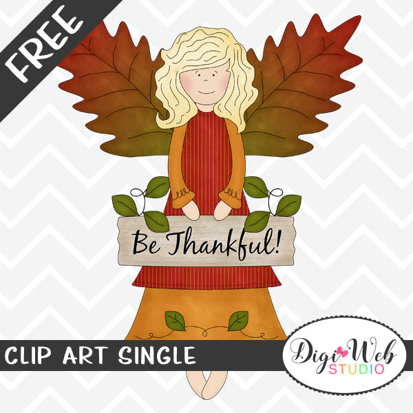 Free Be Thankful Fall Angel Clip Art Single
