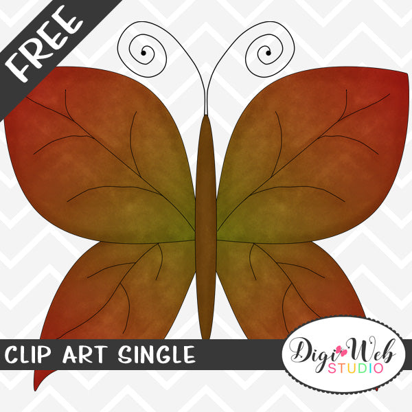 Free Autumn Butterfly with Fall Leaf Wings Clip Art Single