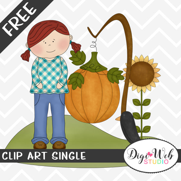 Free Autumn Girl With A Pumpkin, Sunflower and Black Crow Clip Art Single