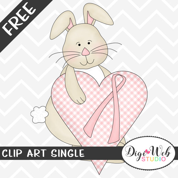 Free Bunny Holding A Gingham Heart with Pink Awareness Ribbon Clip Art Single