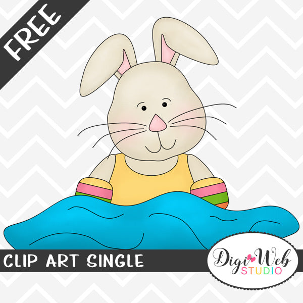 Free Bunny Rabbit Swimming Clip Art Single