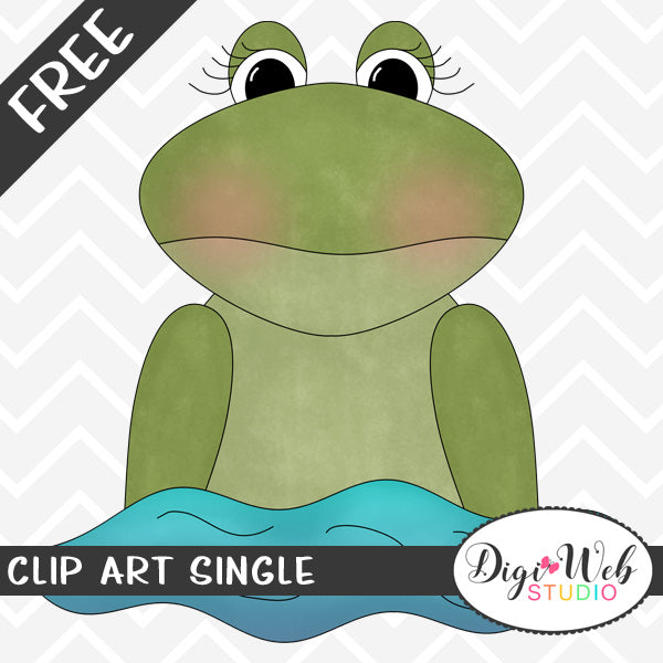 Free Swimming Frog Clip Art Single