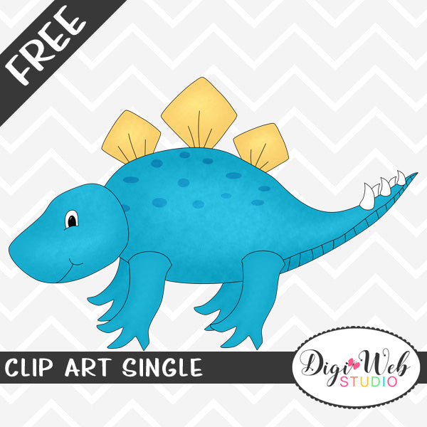 Free Blue Stegosaurus Dinosaur Clip Art Single
