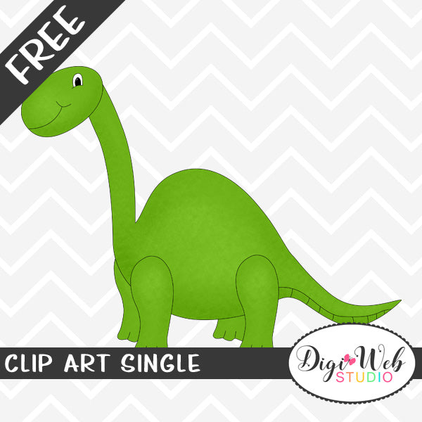 Free Green Brachiosaurus Dinosaur Clip Art Single