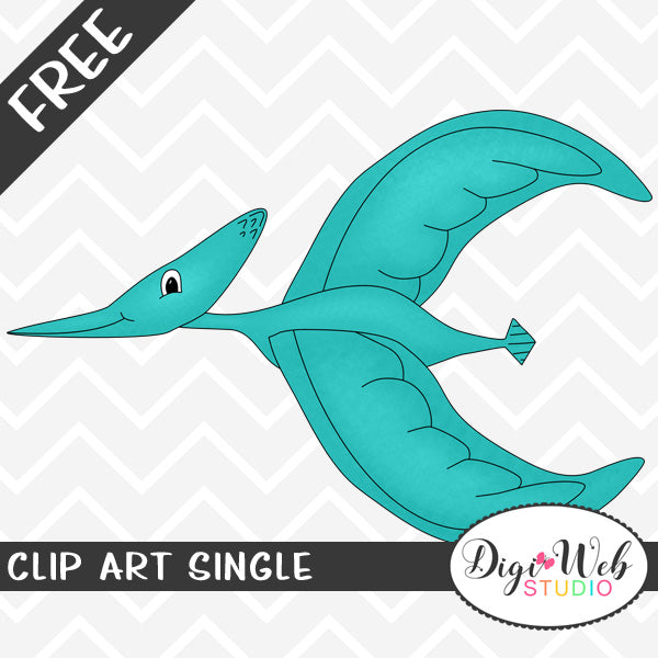 Free Teal Pterodactyl Pterosaur Clip Art Single