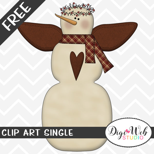 Free Primitive Snowman Angel Clip Art Single