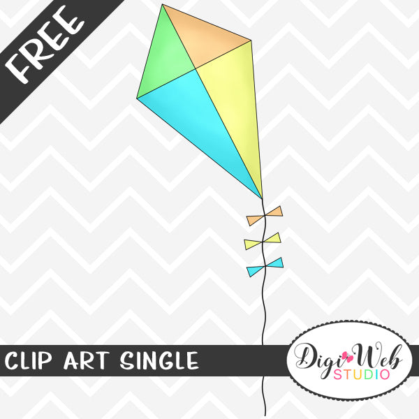Free Kite with Bows Clip Art Single