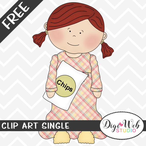 Free Girl Holding Chips and Wearing Pajamas Clip Art Single