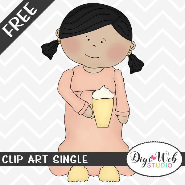 Free Girl Wearing Pajamas and Holding Hot Chocolate Clip Art Single