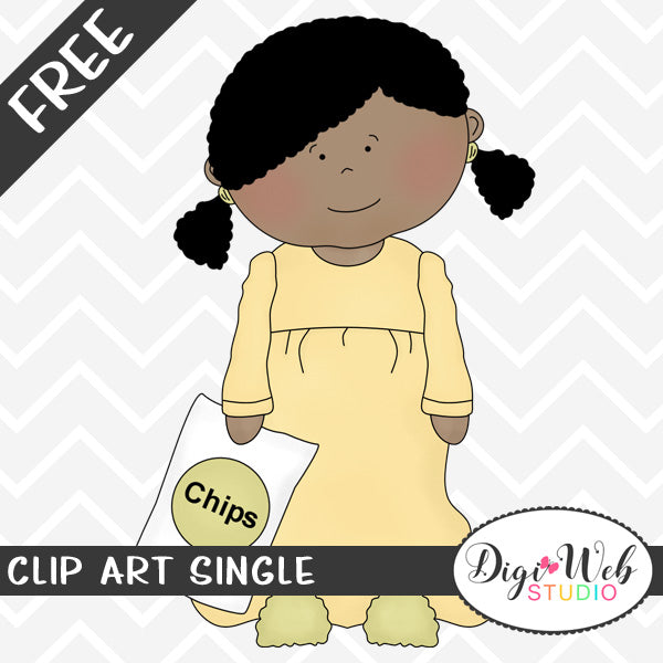 Free Girl Wearing Pajamas and Holding Chips Clip Art Single