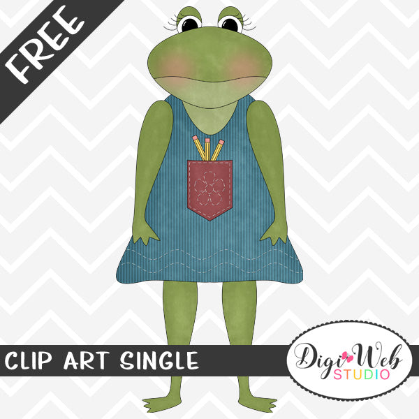 Free Frog With Pencils In Her Pocket Clip Art Single
