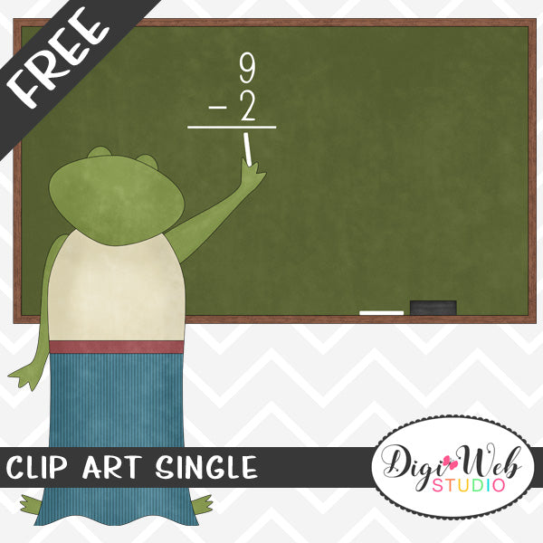 Free Math Teacher Frog at the Chalkboard Clip Art Single