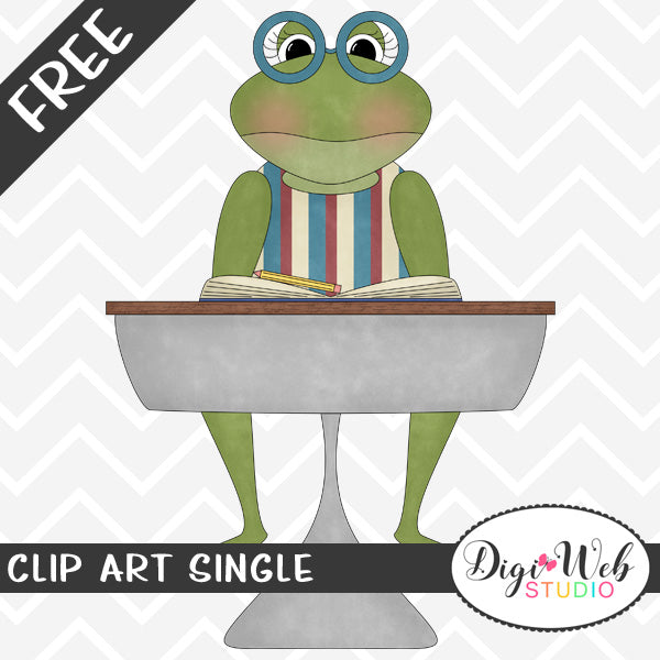 Free Frog in Glasses at School Desk Clip Art Single