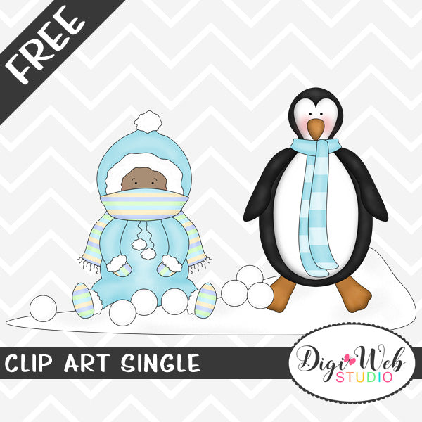 Free Baby Boy with A Penguin Clip Art Single