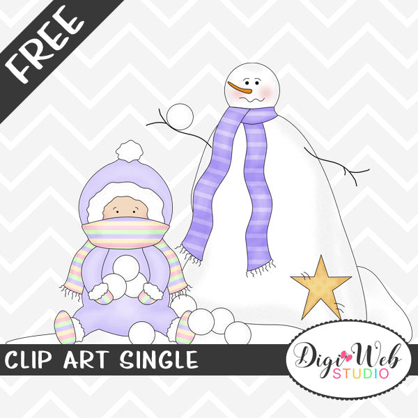 Free Baby Girl with A Snowman Clip Art Single