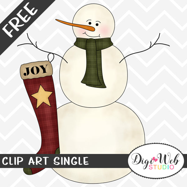 Free Snowman with A Joy Christmas Stocking Clip Art Single