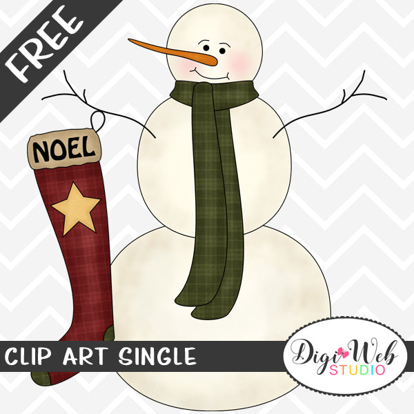 Free Snowman with A Noel Christmas Stocking Clip Art Single